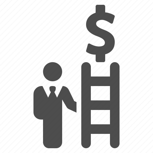 business, businessman, climbing, dollar, ladder, money, succes icon