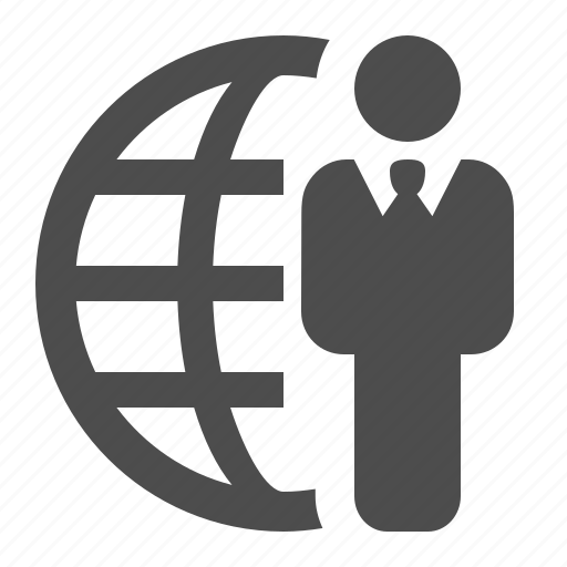 business, businessman, global, globe, man, network icon