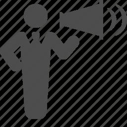 boss, businessman, loudspeaker, man, manager, talking, yelling icon
