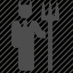businessman, demon, devil, horns, man, pitchfork, trident icon