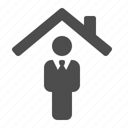 businessman, home, house, indoor, man, real estate, roof icon