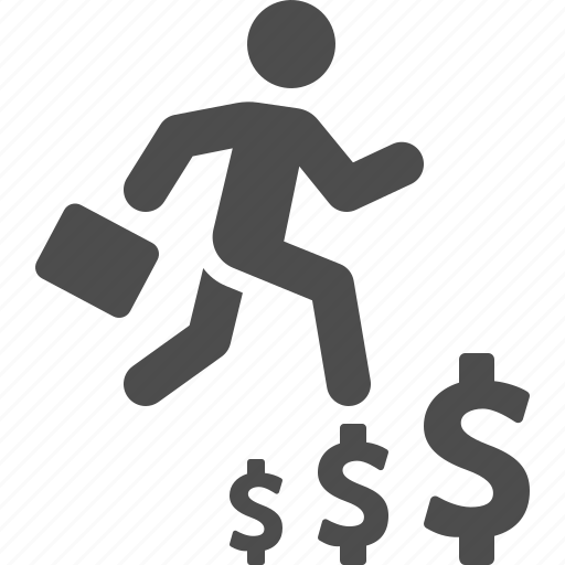 briefcase, business, businessman, dollar, man, money, running icon