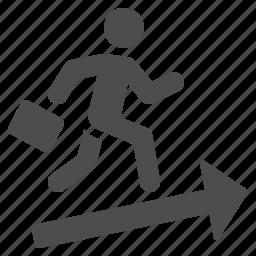 arrow, briefcase, business, businessman, man, running, suitcase icon