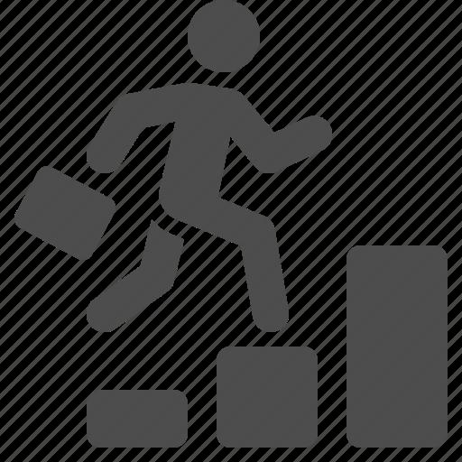 briefcase, business, businessman, graph, man, running, stairs icon