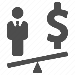 business, businessman, dollar, finance, money, seesaw, weight scale icon