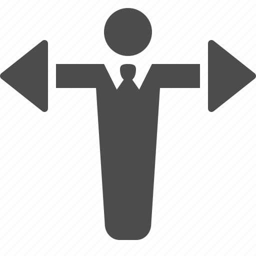 arrows, business, businessman, directions, man icon