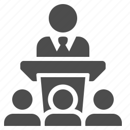 business, businessman, conference, lecture, man, podium, speech icon