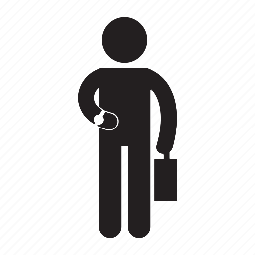 bag, briefcase, bussines man, looking, man, stand, waiting icon