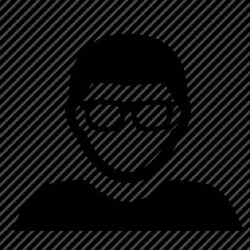 account, avatar, glasses, male, man, people, person, profile, user icon