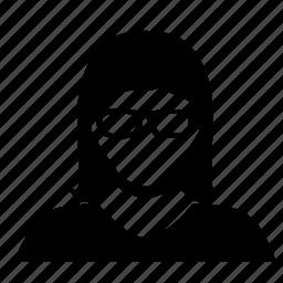 avatar, glasses, woman icon
