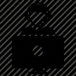 computer, contact, man icon