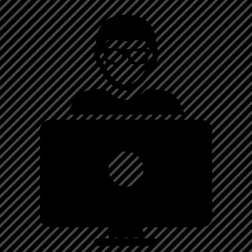 Computer, glasses, man icon