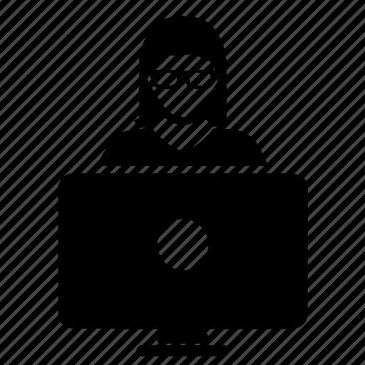 computer, glasses, woman icon