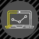 computer, device, diagram, graph, report icon