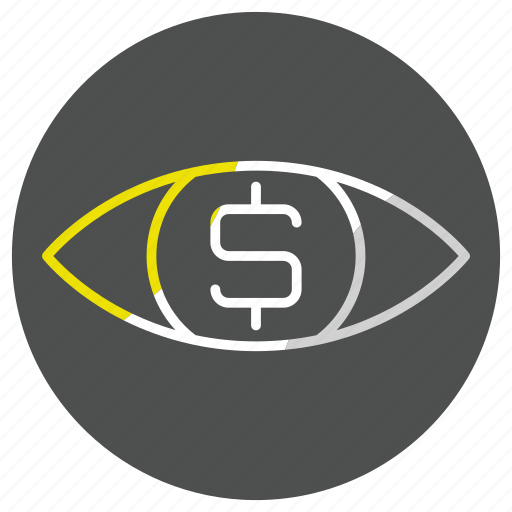 dollarmoney, eye, glass, look, search, zoom icon