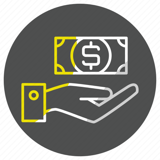 bank, business, currency, finance, hand, money, payment icon