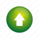 arrow, button, direction, green, navigation, up, upload icon
