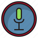 botton, computer, interface, mic icon