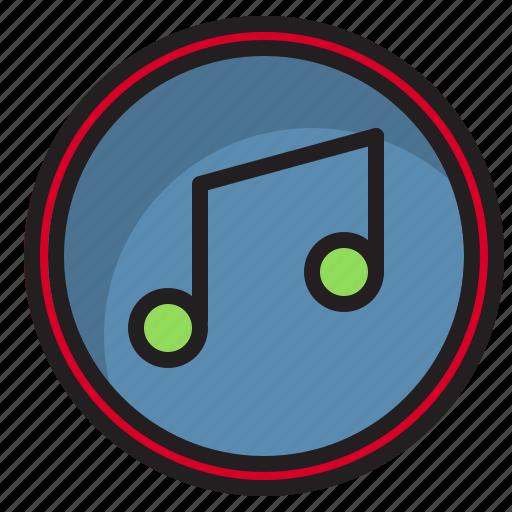 botton, computer, interface, music icon