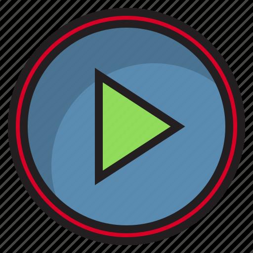 botton, computer, interface, play icon