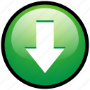 arrow, direction, down, download, pin, save, arrow down icon