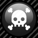 alert, danger, hazard, poison, skull, toxic, warning