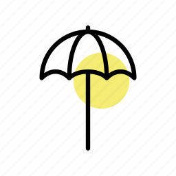 beach, beach-umbrella, holiday, sea, seaside, summer icon