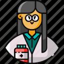 avatar, female, frontliner, pharmacist, researcher icon