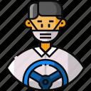 public transportation, avatar, driver, frontliner, taxi driver, bus driver, ambulance icon