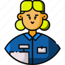 worker, grocery store worker, avatar, female, cashier, frontliner icon