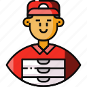 avatar, courier, delivery man, food, food delivery, food service, frontliner icon