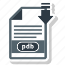 document, extension, folder, paper, pdb icon