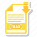 document, extension, folder, max, paper icon