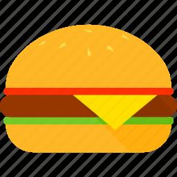 bun, burger, cheese, lettuce, meat, sandwich, tomato icon