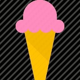 cone, cream, frozen, ice, summer, sweet, tasty icon