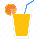 beverage, drink, glass, juice, orange, soft, straw icon