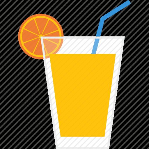 beverage, drink, glass, juice, orange, soft, straw icon