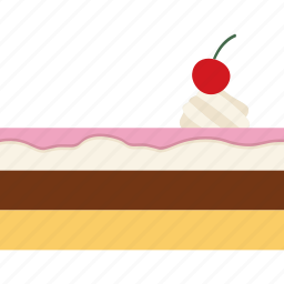 baked, bread, cake, cherry, cream, pastry, sweet icon