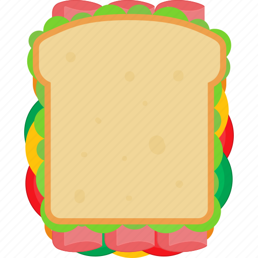 cheese, fast, lettuce, meat, sandwich, slice, tomato icon