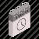 calendar, cartoon, date, day, isometric, september, time