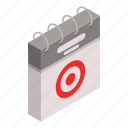 business, calendar, cartoon, day, isometric, target, time