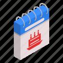 binder, birth, calendar, cartoon, date, day, isometric