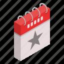 calendar, cartoon, date, day, grey, isometric, star