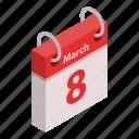 calendar, cartoon, day, holiday, isometric, march, woman