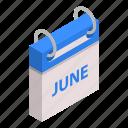 calendar, cartoon, day, isometric, june, month, reminder