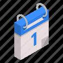 calendar, cartoon, date, day, element, first, isometric