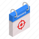 abstract, calendar, cartoon, isometric, january, month, target