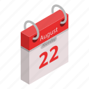 appointment, august, calendar, cartoon, holiday, isometric, vab51