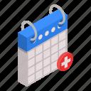 aid, ambulance, calendar, cartoon, date, first, isometric