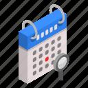 calendar, cartoon, date, day, find, isometric, search